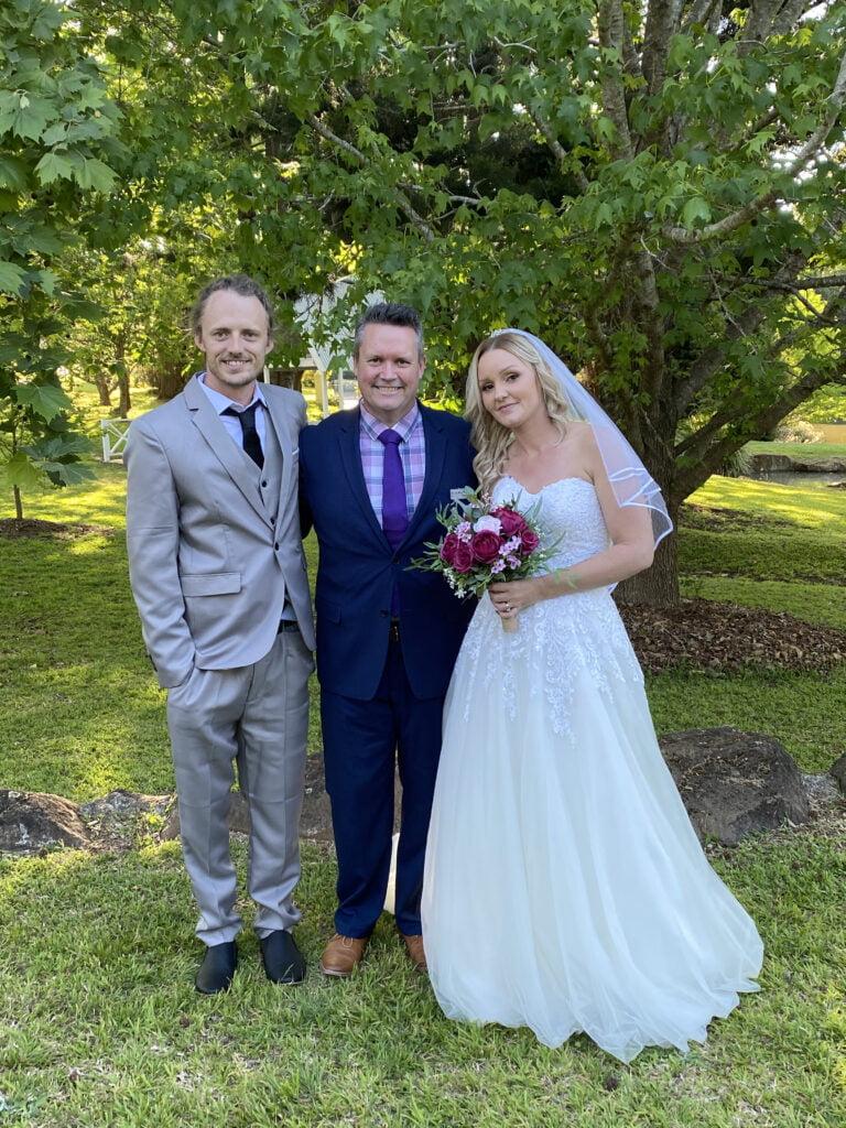 A wedding ceremony by marriage celebrant Mark Reynolds at Cedar Grove Estate Mt Tamborine