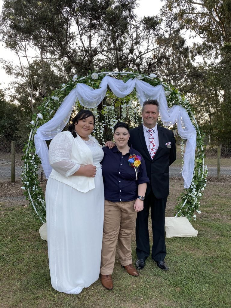 A beautiful backyard wedding ceremony conducted by Mark Reynolds Marriage Celebrant