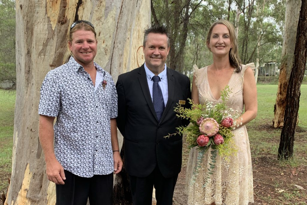 A wedding ceremony officiated by Mark Reynolds Marriage Celebrant at Logan Village